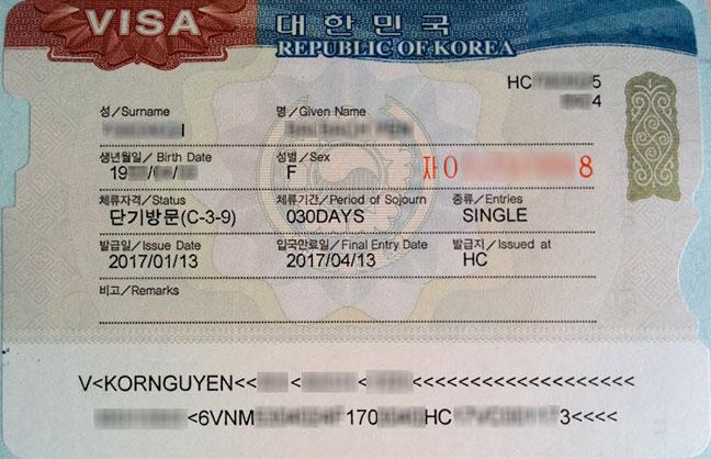 mẫu visa du lịch hàn quốc cấp tháng 01-2017