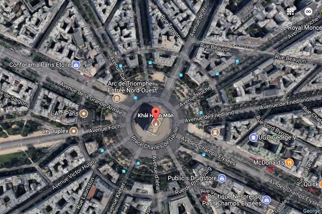 hình ảnh khải hoàn môn chụp bằng google earth