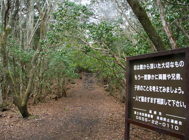 biển báo lời nhắn nhủ đặt trong rừngaokigahara