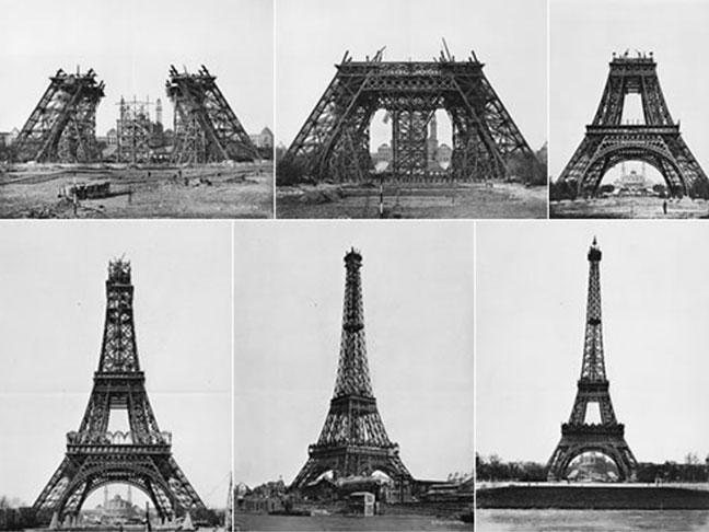 hình ảnh tháp eiffel qua các quá trình xây dựng